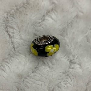 Pandora Black Yellow Flower Murano Glass Charm